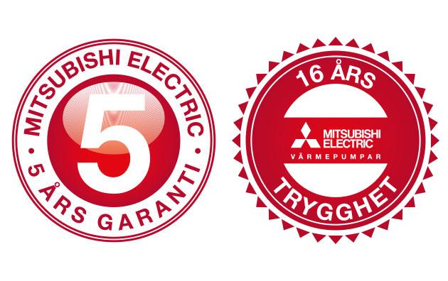 5 og 16 års garanti på Mitsubishi varmepumper